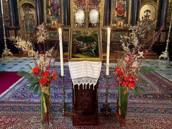 Weihnachtsikone mit Darstellung der Geburt Jesu Christi in der griechisch orthodoxen Kathedrale zur Heiligen Dreifaltigkeit in Wien